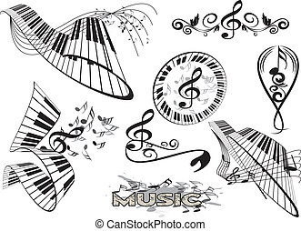 floral, clavier piano, élément