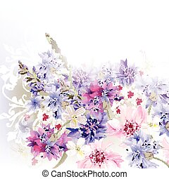 background blue, pink and purple c - Floral clear background...