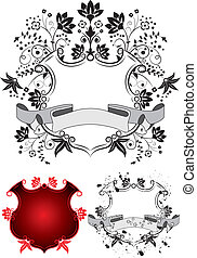 Floral coat of arms, vector