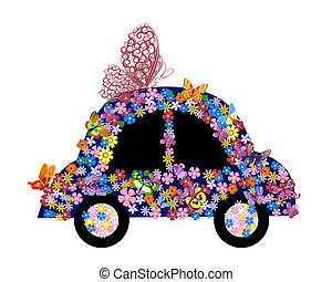 floral, coche, brillante