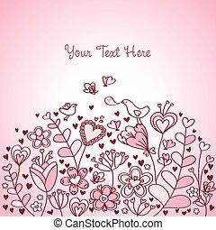 floral, coeur, arrière-plan rose, rouges