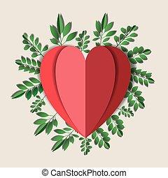 floral, coeur, décoration