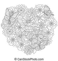 floral, coeur, livre coloration, ton