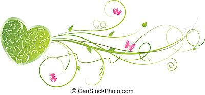 floral, coeur, tourbillons, vert, valentine