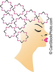 floral, coiffure