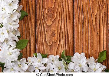 floral, coin, cadre, fleurs