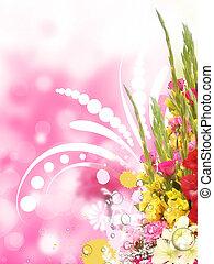 floral, coin, frontière, fond, brouillé