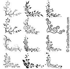 floral, coins, vecteur, ensemble