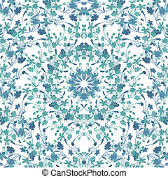 Brigth ornate flowers motif photo collage technique seamless pattern mosaic in blue and white tones