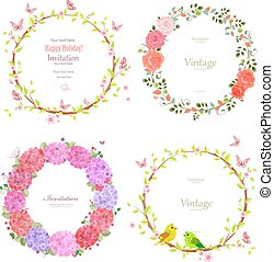 floral collection of romantic wreaths for your design