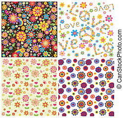 floral, collection, papiers peints