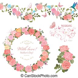 floral collection with roses. seamless border and cute wreath