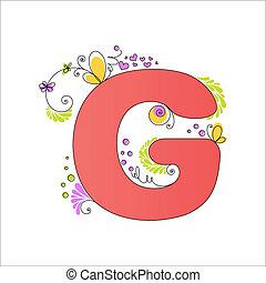 floral, coloré, alphabet., lettre g