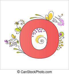 floral, coloré, alphabet., lettre, o