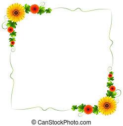 floral, coloré, frontière