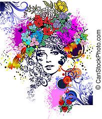 floral, coloreado, mujer, silhouette., vector, illustration., elemento del diseño