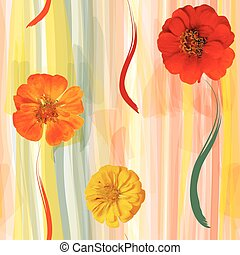 Floral colorful grunge striped ve