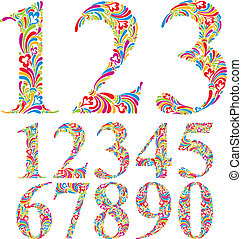 Floral colorful numbers set.