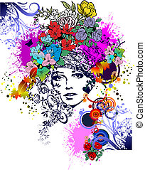 floral, colorido, mulher, silhouette., vetorial, illustration., projete elemento