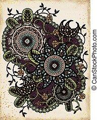 floral, colorido, página