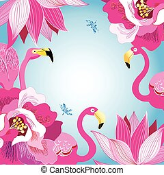 floral, coloridos, fundo, com, flamingos