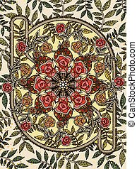 floral coloring page - retro and elegant floral coloring...
