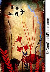 floral, composición, con, bird`, siluetas