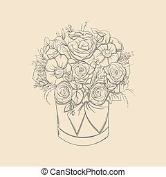 floral composition. Bouquet with hand drawn flowers and plants in basket. vector illustrations in sketch style.