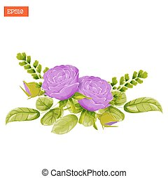 Floral composition. Purple rose flowers with leaves, buds and fern