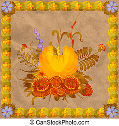 Floral composition with a frame of leaves on the background of old paper. eps10