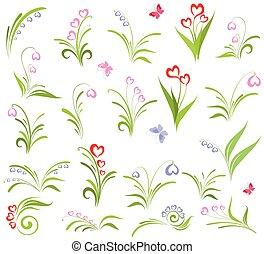 floral, conjunto, elementos