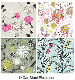 floral, conjunto, romántico, plano de fondo