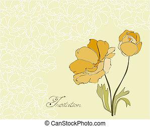 floral, convite, cartão postal, em, vetorial