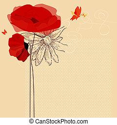 floral, convite, papoulas, e, borboleta, vetorial