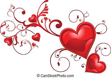 floral, coração, abstratos, fundo