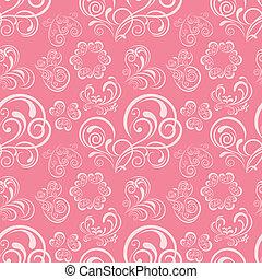 floral, coração, abstratos, padrão
