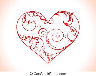 floral, coração, abstratos, vetorial