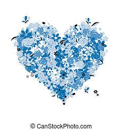 floral, coração, amor, forma