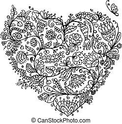 floral, coração, desenho, seu, ornate