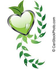 floral, coração, desenho
