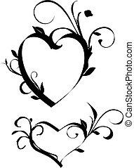 floral, coração, elementos