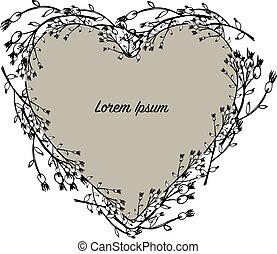 floral, coração, grinalda, esboço, para, seu, desenho
