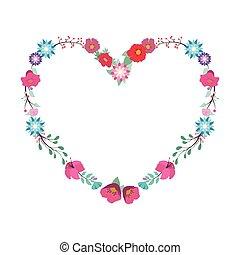 floral, coração, ilustração