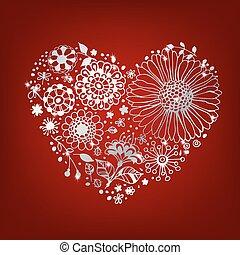 floral, coração, prata
