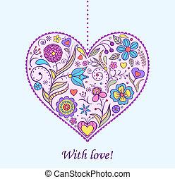 floral, coração, valentine