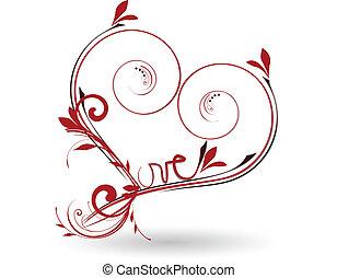 floral, coração, valentines, amor, dia