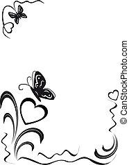 floral, corações, borboleta, ornamen