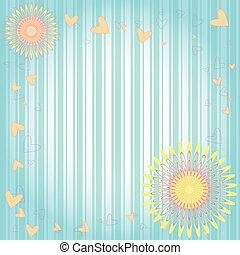 floral, corações, cartão cumprimento