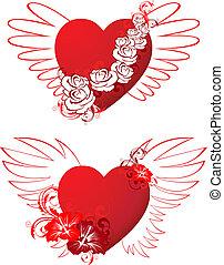 floral, corações, ornamento, asas, vermelho