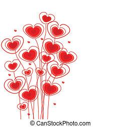floral, corações, saudações, cartão